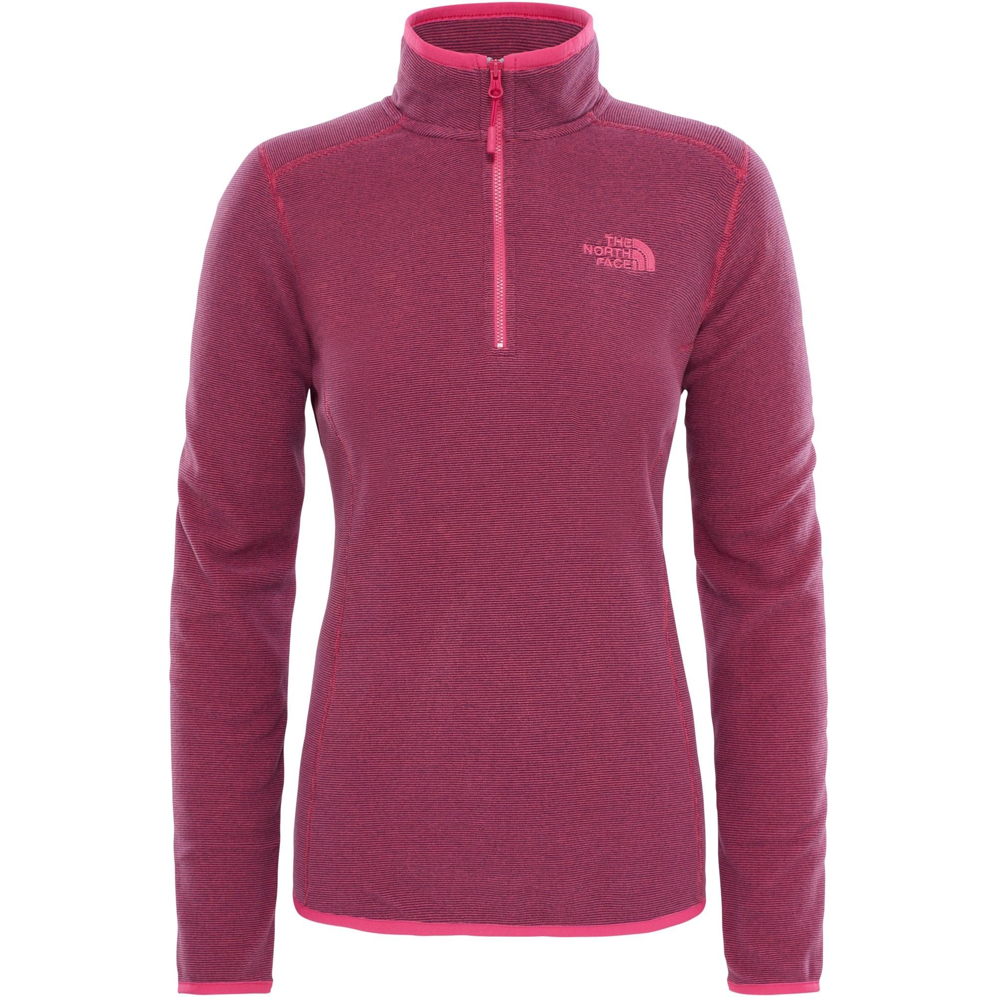 The-North-Face-Womens-100-Glacier-1-4-Zip-Petticoat-Pink-Stripe