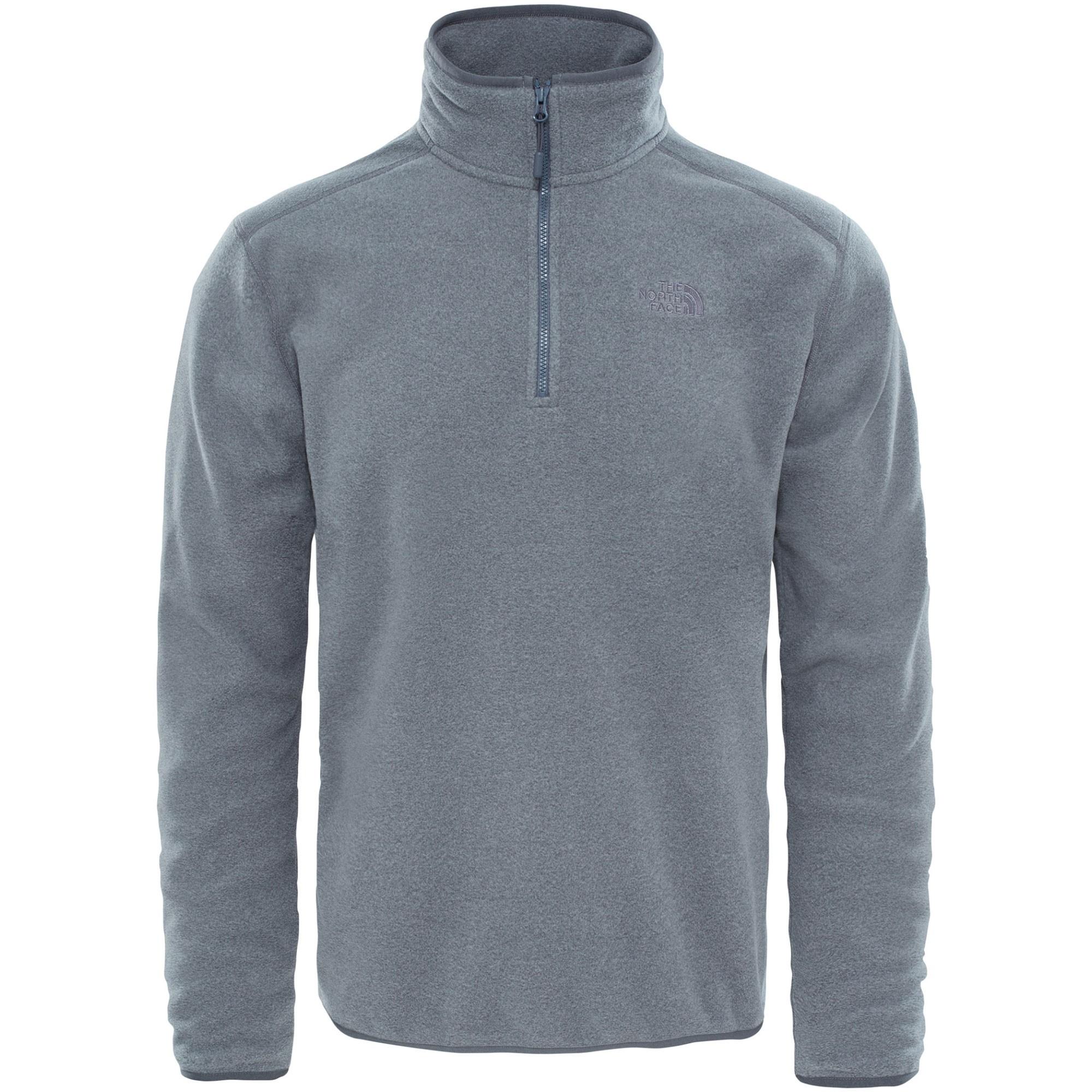 The North Face 100 Glacier 1/4 Zip Fleece Pullover - TNF Medium Grey Heather/High Rise Grey