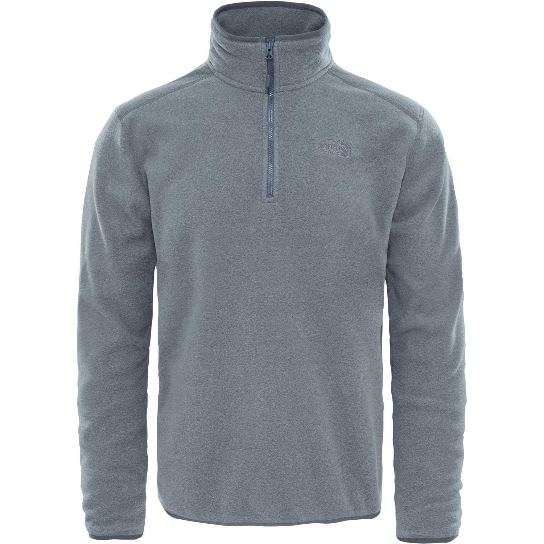 The North Face Glacier 100 1/4 Zip Fleece Pullover - TNF Medium Grey Heather/High Rise Grey