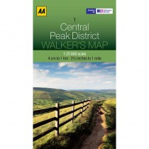 1 Central Peak District Walkers Map by AA