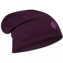 Buff Heavyweight Merino Wool Knitted Hat - Purplish Multi Stripes