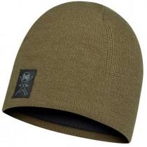 Buff Solid Knitted & Polar Hat - Bark