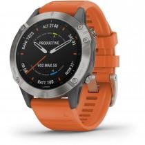 Garmin Fenix 6 Sapphire Titanium Multisport GPS Watch - Grey with Orange Band