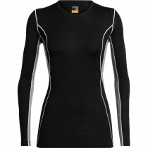 Icebreaker 200 Oasis Deluxe Long Sleeve Crewe Merino Baselayer - Women's - Black/Gritstone Heather