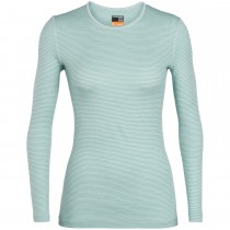 Icebreaker 200 Oasis Long Sleeve Women's Crew - Dew/Arctic Teal Stripe