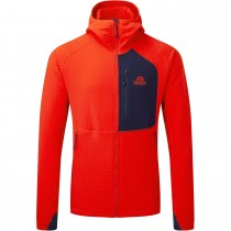 Mountain Equipment Shroud Hooded Jacket - Men's Fleece - Cardinal Orange/Medieval Blue