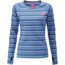 Moon Striped Long Sleeve Women's Baselayer - Midnight - Front