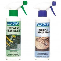 Nikwax Footwear Cleaning Gel spray/Fabric & Leather Proof spray - 300ml Combo Pack
