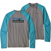 Patagonia P-6 Logo Lightweight Crew Sweatshirt - Feather Grey/Mako Blue