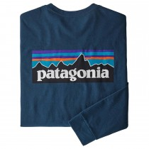 Patagonia P-6 Logo LS Responsibili-Tee - Crater Blue