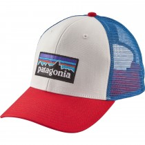 Patagonia P-6 Trucker Hat - White/Fire/Andes Blue