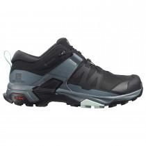Salomon X Ultra 4 GTX Approach Shoe - Women's - Black/Stormy Weather/Opal Blue