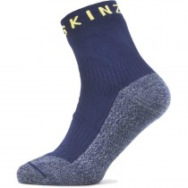 Sealskinz Waterproof Warm Weather Soft Touch Ankle Length Sock - Navy Blue/Blue Marl/Yellow