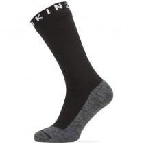 Sealskinz Waterproof Warm Weather Soft Touch Mid Length Sock - Black/Grey Marl/White