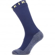 Sealskinz Waterproof Warm Weather Soft Touch Mid Length Sock - Navy Blue/Blue Marl/Yellow