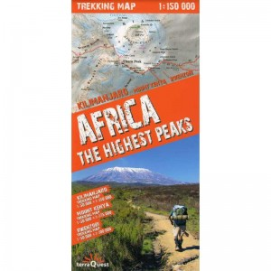 Africa The Highest Peaks Trekking Map by terraQuest