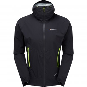 Montane Minimus Stretch Ultra Waterproof Jacket - Black/Laser Green