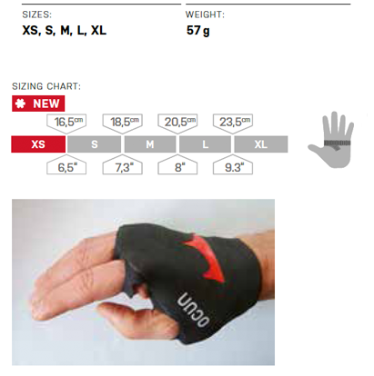 Ocun Crack Glove Size Chart
