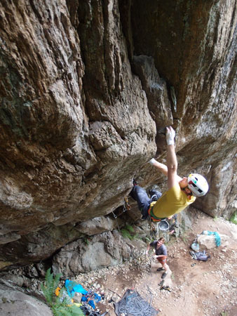 James Turnbull on the Unnamed 7b Roof Crack, Le Couteray