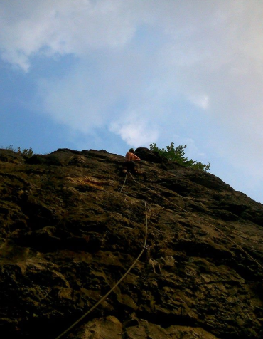 Dave B, shortly before taking the fall off Behemoth, E5 6b, Water-cum-jolly