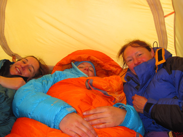 Jane, Helen and Pip, 3 to a tent is cosy!