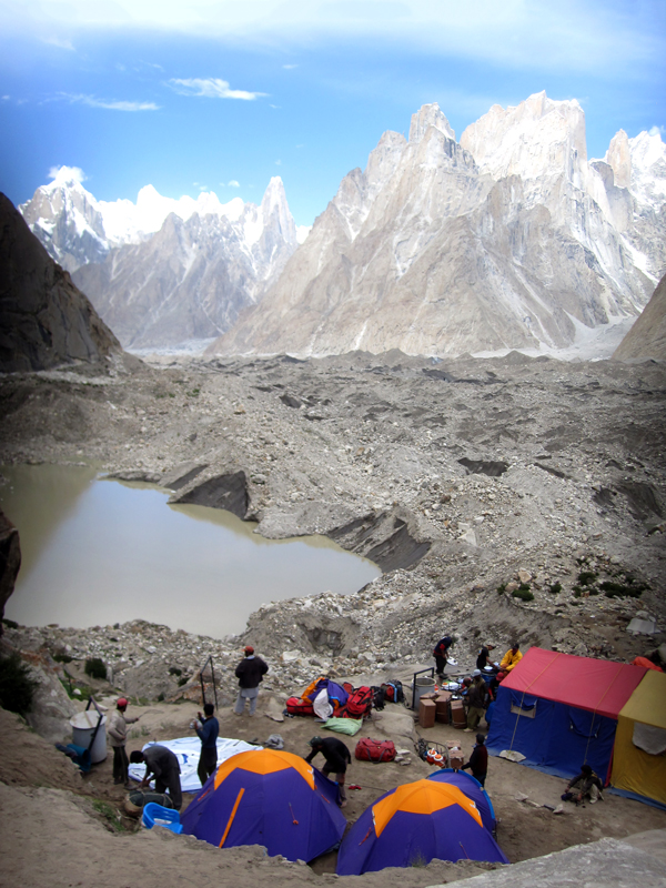 Uli Biaho towers over camp in the Karakorum Mountains. Photo by Tom Richardson
