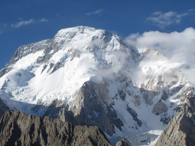Broad Peak, in the Gasherbrum massif of Pakistan's Baltistan province, stands at 8,051m (26,414ft) and is the 12th highest mountain in the world.