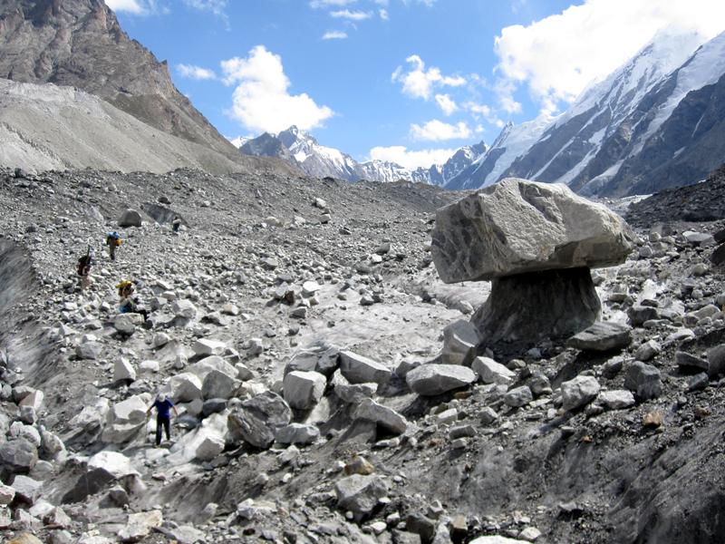 The boulder fields of Gondogoro glacier