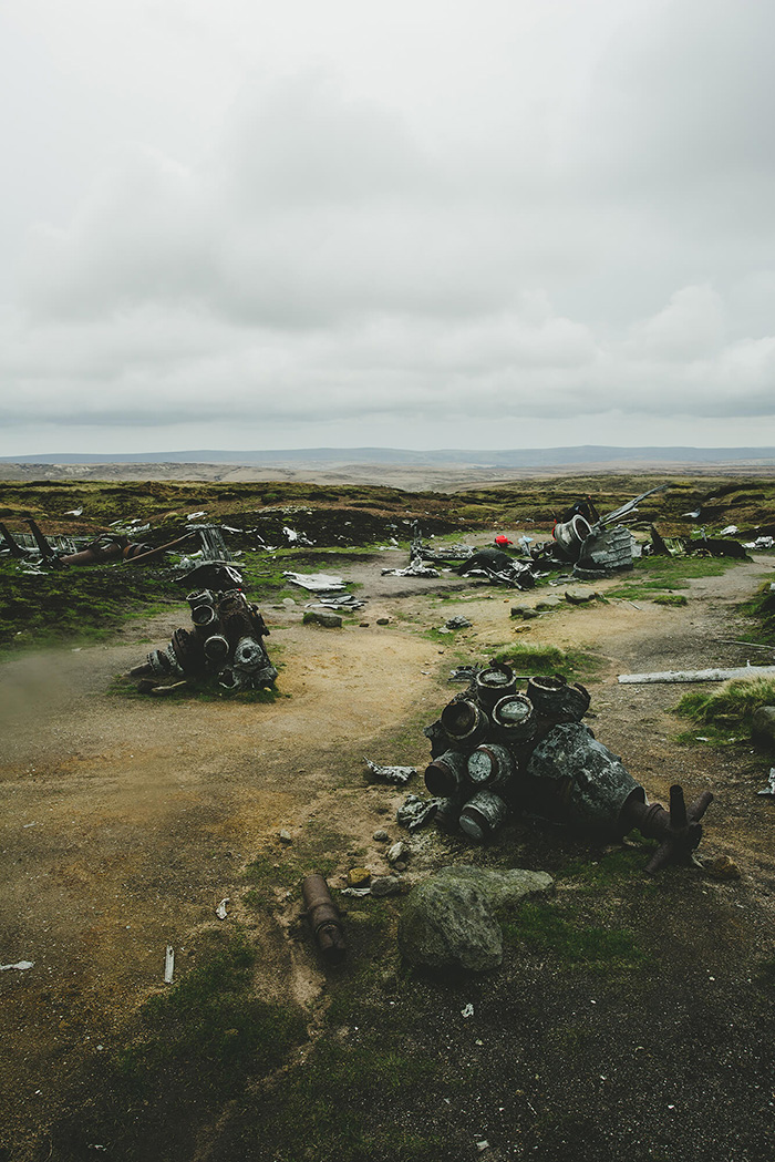 What's left of the wreck of the B-29 Superfortress on Bleaklow