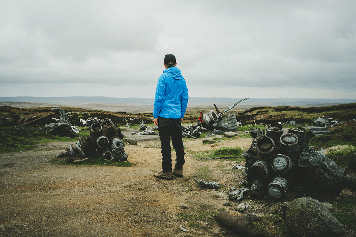 Viewing the wreck of the B-29 Superfortress on Bleaklow