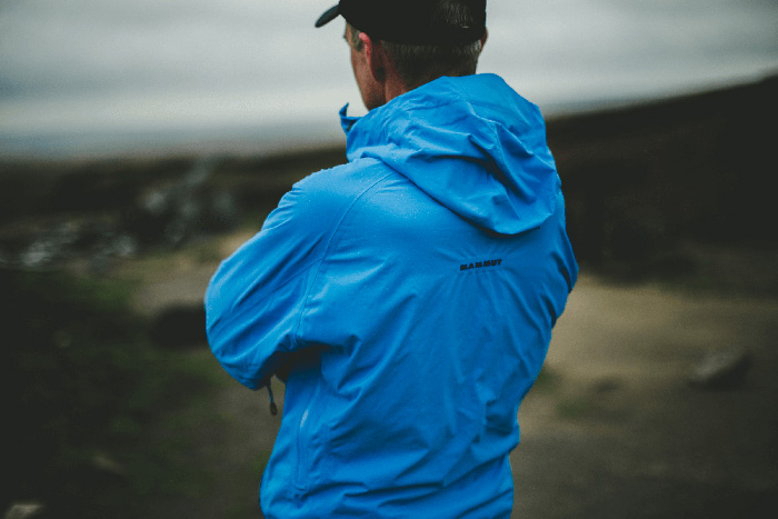 Andrew looks out past the wreckage of the two F86 Sabres over Kinder Scout, one of the many Peak District aircraft wrecks