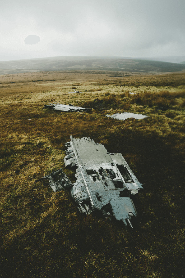 The trail of wreckage left by the two F86 Sabres on Kinder Scout