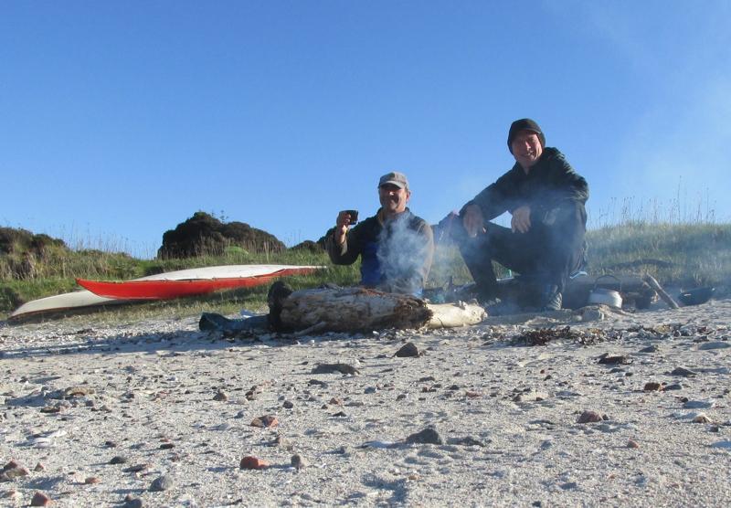 Bonfiire on Island campsite