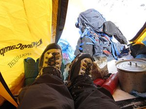 Tom's well loved Mountaineering Boots