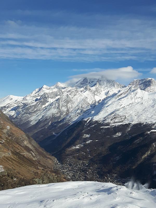 The North Face Gear Test - view down to Zermatt