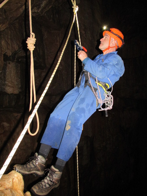 Outside Staff Blog Titan Caving trip - Paul hanging out above a 140m drop