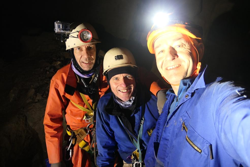 Outside Staff Blog Titan Caving trip - Mad, Chris & Paul at the bottom