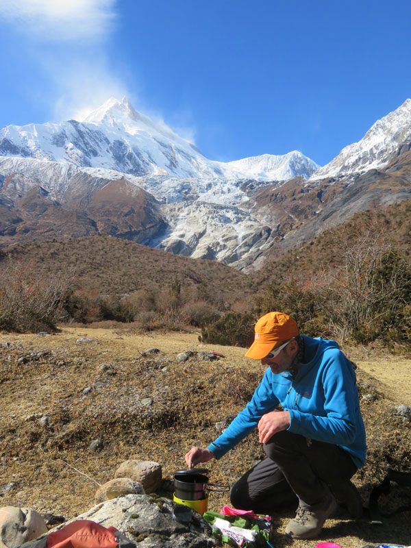Brewing up below Manaslu - Winter Trekking Manaslu Outside Staff Blog