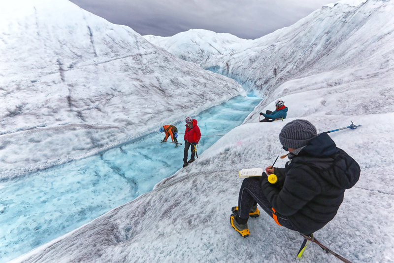 Greenland Expedition - River speed measurements. Photo: Andrew Sole.