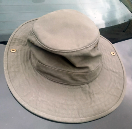 A pre-loved Tilley hat, rescued from a lake